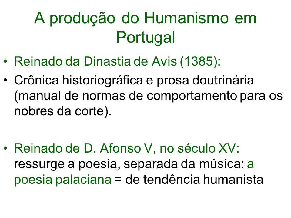 A produção do Humanismo em Portugal Reinado da Dinastia de Avis (1385): Crônica historiográfica e prosa doutrinária (manual de normas de comportamento para os nobres da corte).