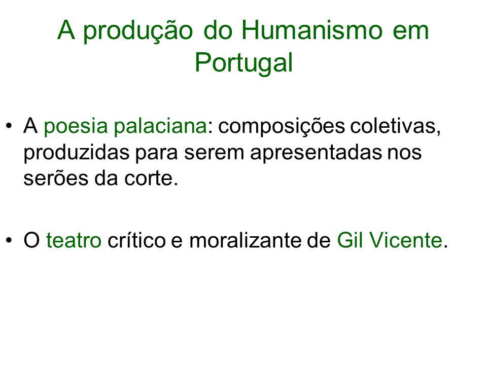 A produção do Humanismo em Portugal A poesia palaciana: composições coletivas, produzidas para serem apresentadas nos serões da corte.