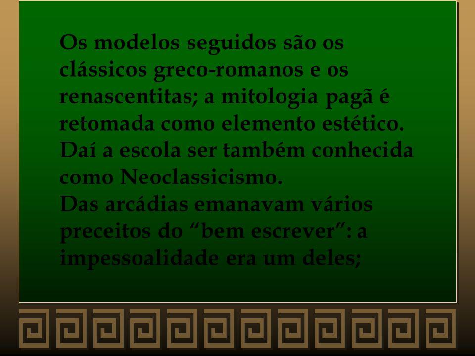 Os modelos seguidos são os clássicos greco-romanos e os renascentitas; a mitologia pagã é retomada como elemento estético. Daí a escola ser também con
