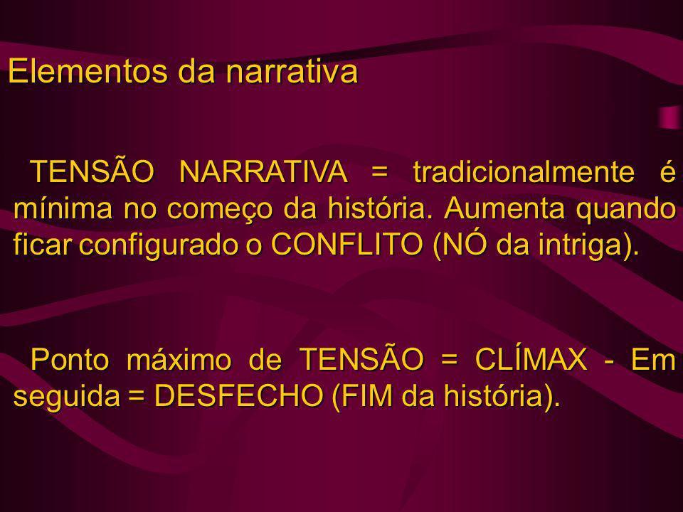 Elementos da narrativa TENSÃO NARRATIVA = tradicionalmente é mínima no começo da história. Aumenta quando ficar configurado o CONFLITO (NÓ da intriga)