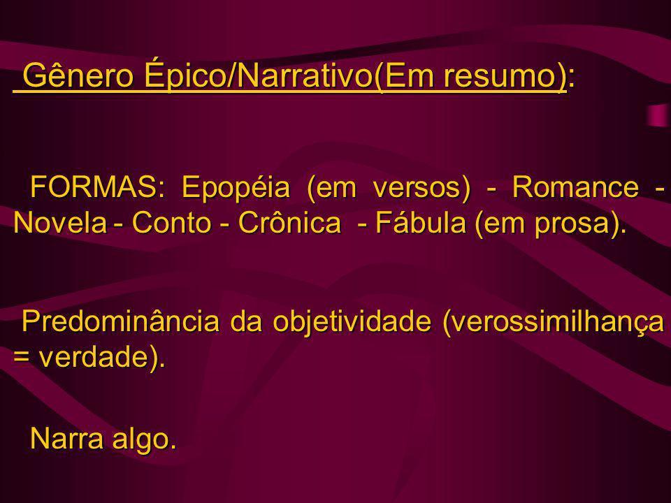 Gênero Épico/Narrativo(Em resumo): Gênero Épico/Narrativo(Em resumo): FORMAS: Epopéia (em versos) - Romance - Novela - Conto - Crônica - Fábula (em pr