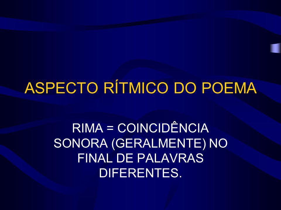 ASPECTO RÍTMICO DO POEMA RIMA = COINCIDÊNCIA SONORA (GERALMENTE) NO FINAL DE PALAVRAS DIFERENTES.