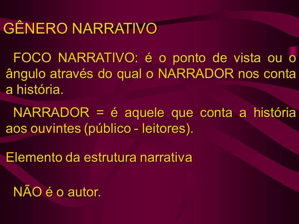 FOCO NARRATIVO NARRATIVA EM 1ª PESSOA (NARRADOR- PERSONAGEM) = O narrador pode ser uma das personagens, participa da ação e relaciona-se com outras personagens.