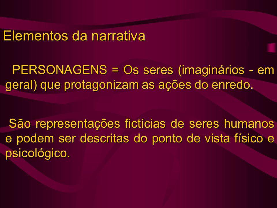Elementos da narrativa PERSONAGENS = Os seres (imaginários - em geral) que protagonizam as ações do enredo. PERSONAGENS = Os seres (imaginários - em g