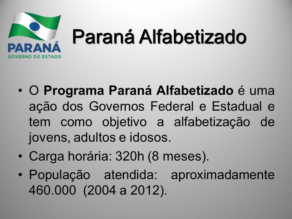 Paraná Alfabetizado O Programa Paraná Alfabetizado é uma ação dos Governos Federal e Estadual e tem como objetivo a alfabetização de jovens, adultos e