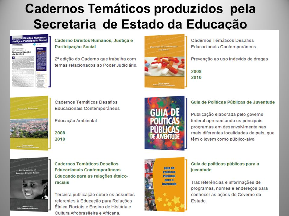 Cadernos Temáticos produzidos pela Secretaria de Estado da Educação