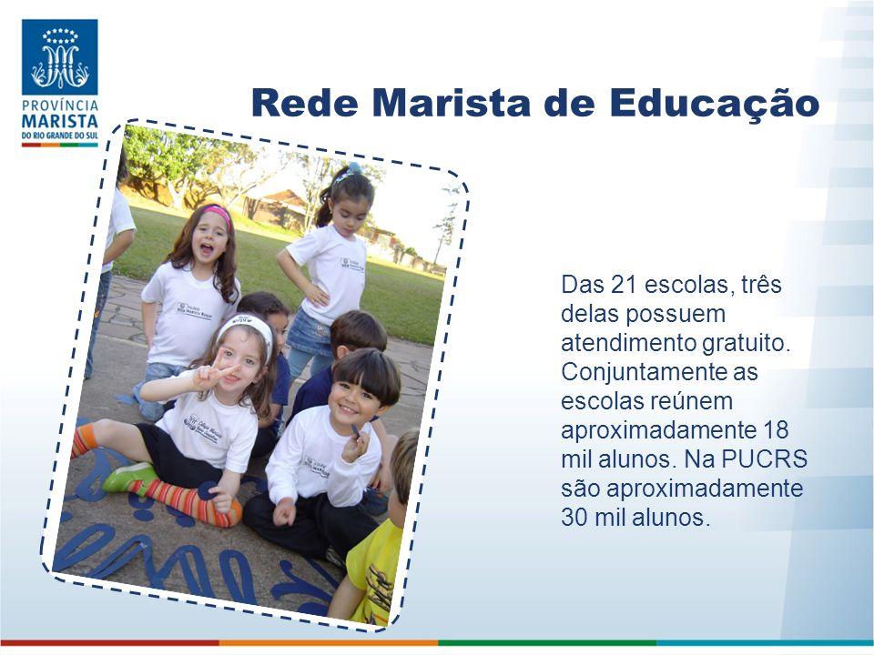 Rede Marista de Educação Das 21 escolas, três delas possuem atendimento gratuito. Conjuntamente as escolas reúnem aproximadamente 18 mil alunos. Na PU