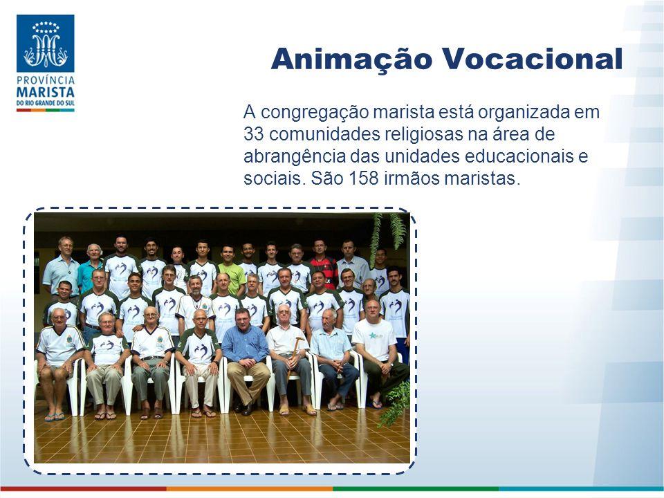 Animação Vocacional A congregação marista está organizada em 33 comunidades religiosas na área de abrangência das unidades educacionais e sociais. São