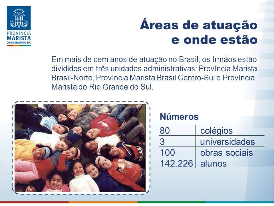 Áreas de atuação e onde estão Em mais de cem anos de atuação no Brasil, os Irmãos estão divididos em três unidades administrativas: Província Marista