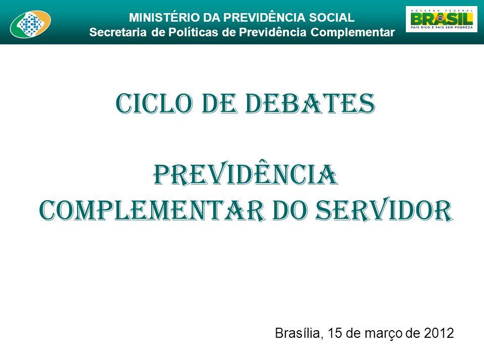 MINISTÉRIO DA PREVIDÊNCIA SOCIAL Secretaria de Políticas de Previdência Complementar Ciclo de Debates Previdência Complementar do Servidor Brasília, 1