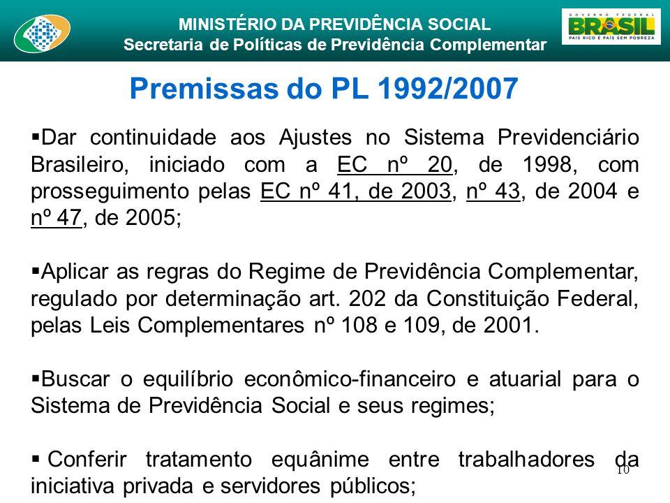 MINISTÉRIO DA PREVIDÊNCIA SOCIAL Secretaria de Políticas de Previdência Complementar 10 Premissas do PL 1992/2007 Dar continuidade aos Ajustes no Sist