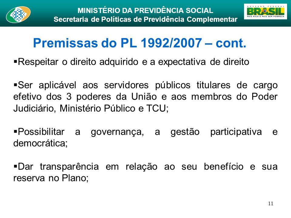 MINISTÉRIO DA PREVIDÊNCIA SOCIAL Secretaria de Políticas de Previdência Complementar 11 Premissas do PL 1992/2007 – cont. Respeitar o direito adquirid