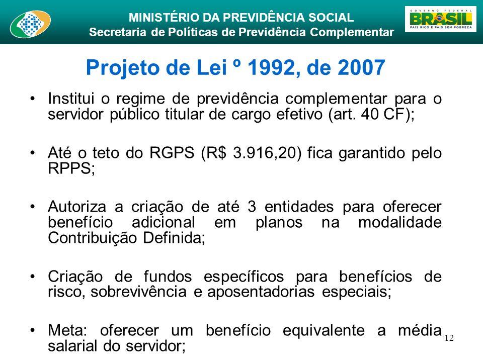 MINISTÉRIO DA PREVIDÊNCIA SOCIAL Secretaria de Políticas de Previdência Complementar 12 Projeto de Lei º 1992, de 2007 Institui o regime de previdênci