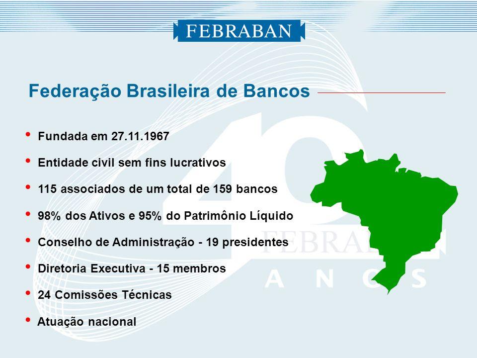 Fundada em 27.11.1967 Entidade civil sem fins lucrativos 115 associados de um total de 159 bancos 98% dos Ativos e 95% do Patrimônio Líquido Conselho