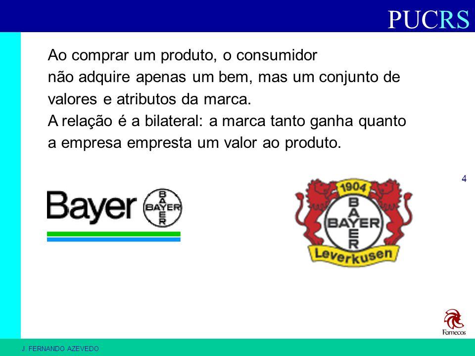 PUCRS J. FERNANDO AZEVEDO 4 Ao comprar um produto, o consumidor não adquire apenas um bem, mas um conjunto de valores e atributos da marca. A relação
