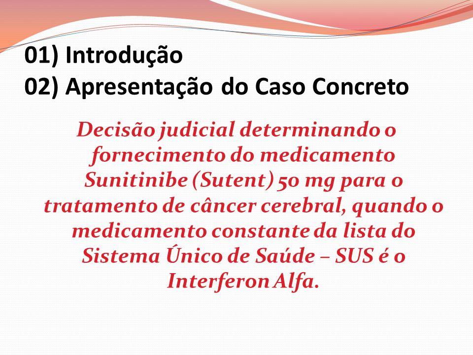01) Introdução 02) Apresentação do Caso Concreto Decisão judicial determinando o fornecimento do medicamento Sunitinibe (Sutent) 50 mg para o tratamen