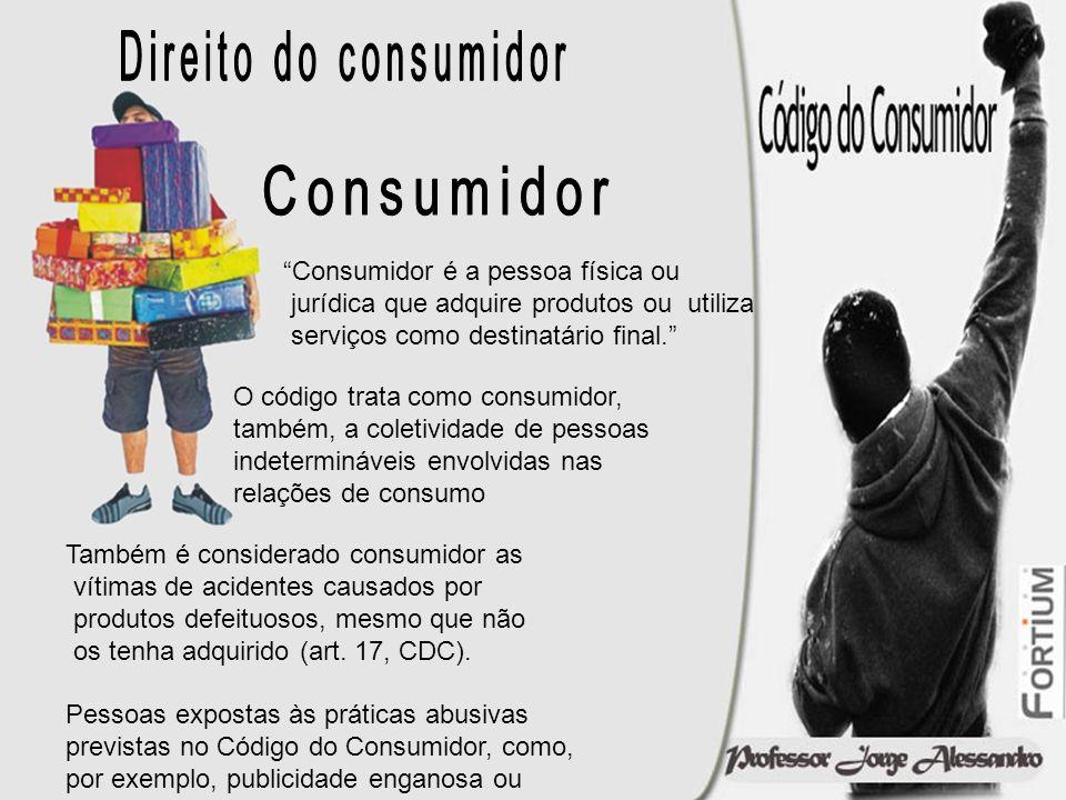 Consumidor é a pessoa física ou jurídica que adquire produtos ou utiliza serviços como destinatário final. O código trata como consumidor, também, a c