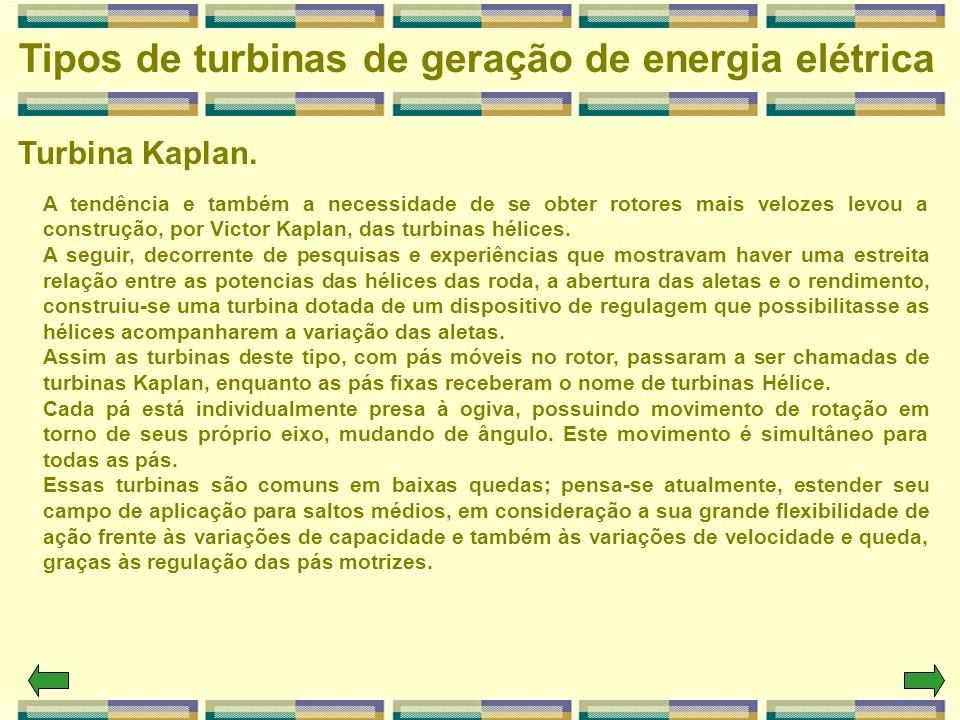 Turbina Kaplan. Tipos de turbinas de geração de energia elétrica A tendência e também a necessidade de se obter rotores mais velozes levou a construçã