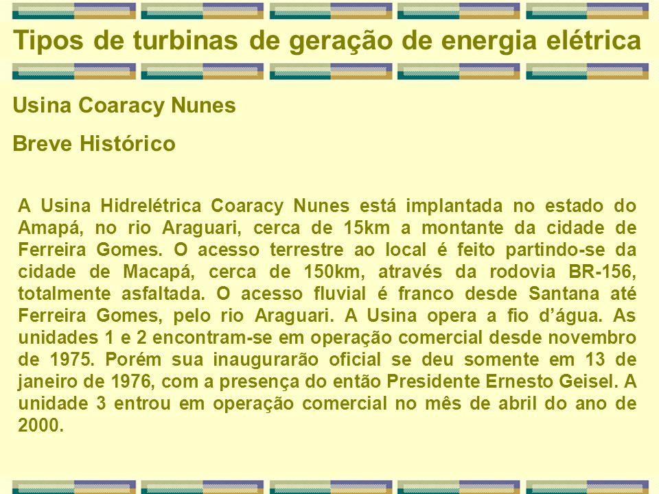 Tipos de turbinas de geração de energia elétrica Usina Coaracy Nunes A Usina Hidrelétrica Coaracy Nunes está implantada no estado do Amapá, no rio Ara