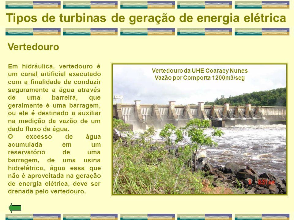 Vertedouro Tipos de turbinas de geração de energia elétrica Em hidráulica, vertedouro é um canal artificial executado com a finalidade de conduzir seg