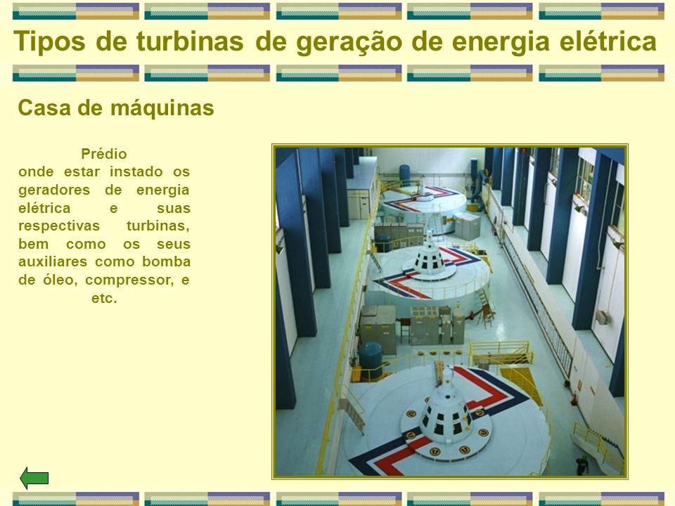 Casa de máquinas Tipos de turbinas de geração de energia elétrica Prédio onde estar instado os geradores de energia elétrica e suas respectivas turbin