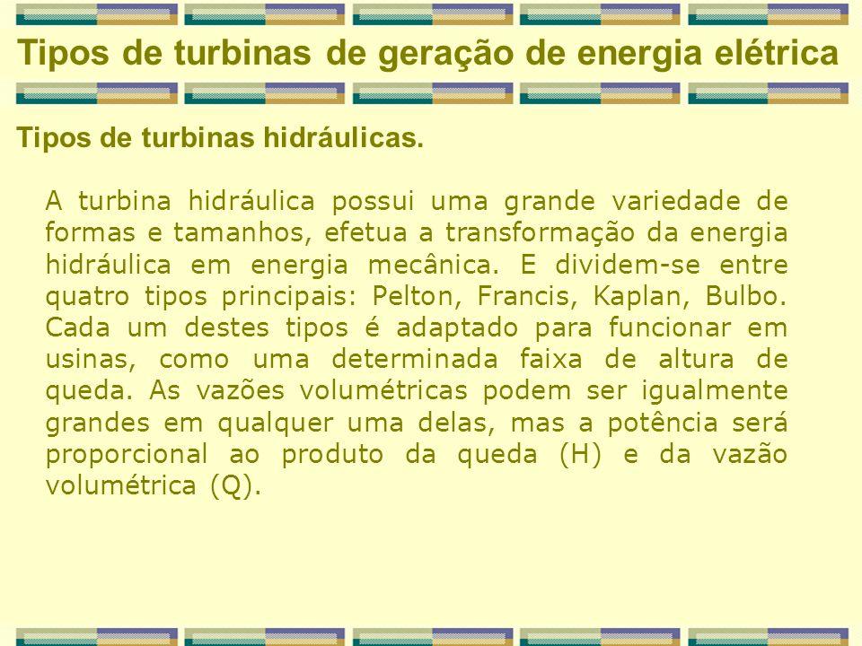 Tipos de turbinas hidráulicas. Tipos de turbinas de geração de energia elétrica A turbina hidráulica possui uma grande variedade de formas e tamanhos,