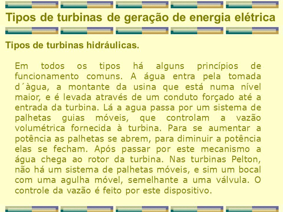 Classificação dos Tipos de turbinas hidráulicas.
