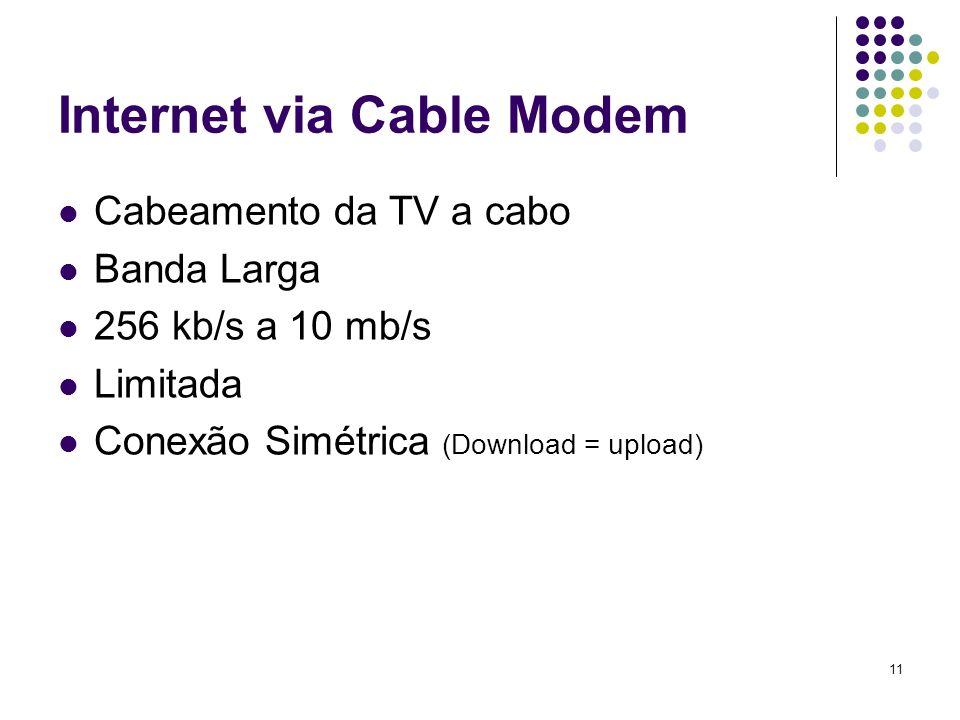 12 Internet Via Rádio Ondas eletromagnéticas Banda Larga 2 mb/s a 622 mb/s