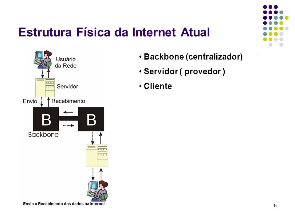 17 Backbone Considerada a espinha dorsal da internet, onde todas as redes se encontram, através da estrutura física, que interliga diversas empresas de telecomunicação.