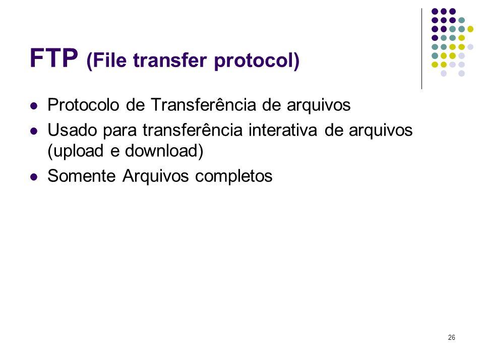 27 SMTP ( Simple mail transfer protocol) Protocolo de transferência de correio simples Responsável por enviar mensagens de correio eletrônico