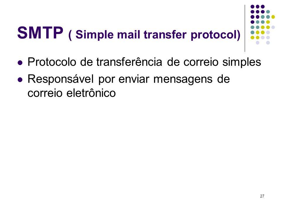 28 UDP ( User Datagram protocol) Protocolo de datagrama de usuário Entrega rápida de pacotes Inconsistente