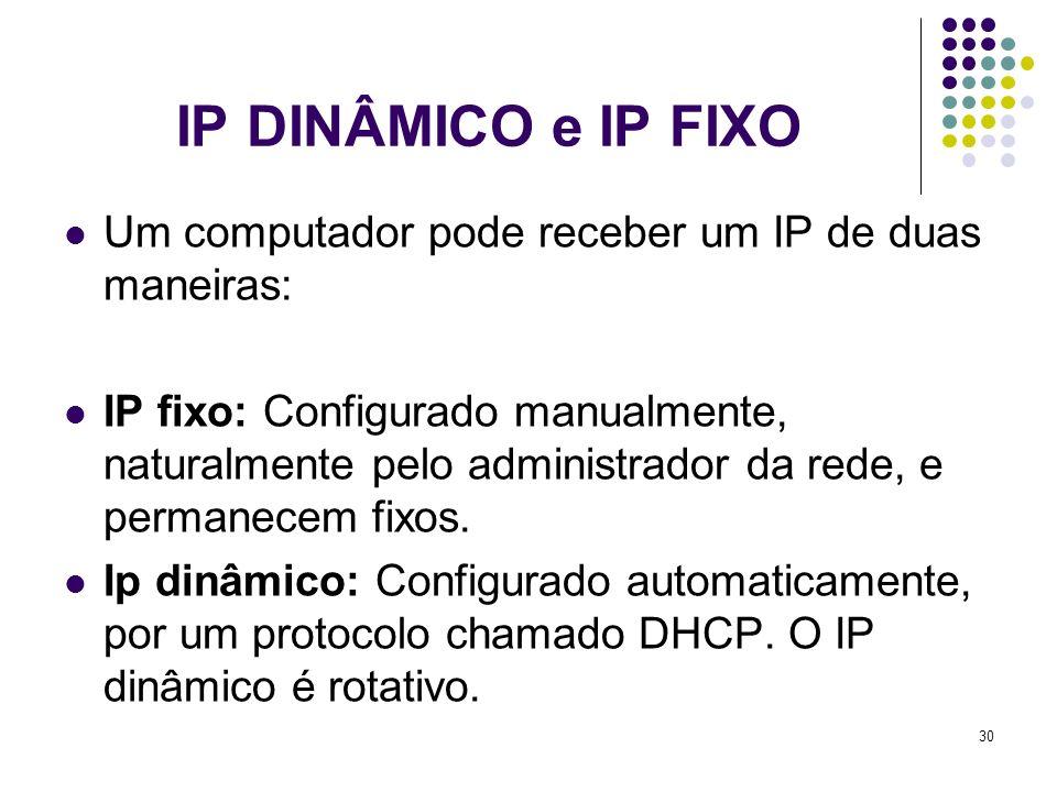 31 Exemplos de IP dinâmico e Fixo Fixo: Utilizados em redes locais, provedores de acesso, servidores de hospedagem de sites que associam também um IP fixo ao sites.