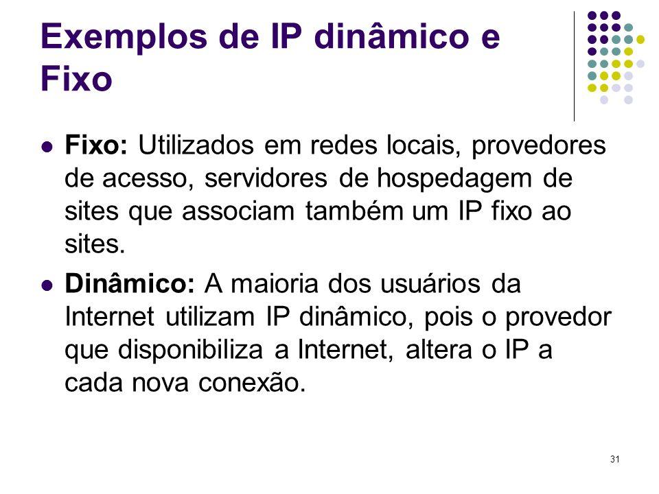 32 Endereços IP e URL Exemplo de endereço IP 192.5.6.7 - Formado por quatro números de 0 a 255 e separados por pontos.
