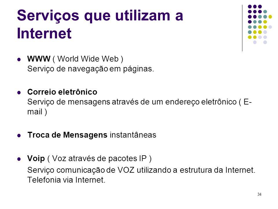 35 Programas para utilizar os serviços Navegadores: Internet Explorer, Mozilla firefox, Ópera e outros.