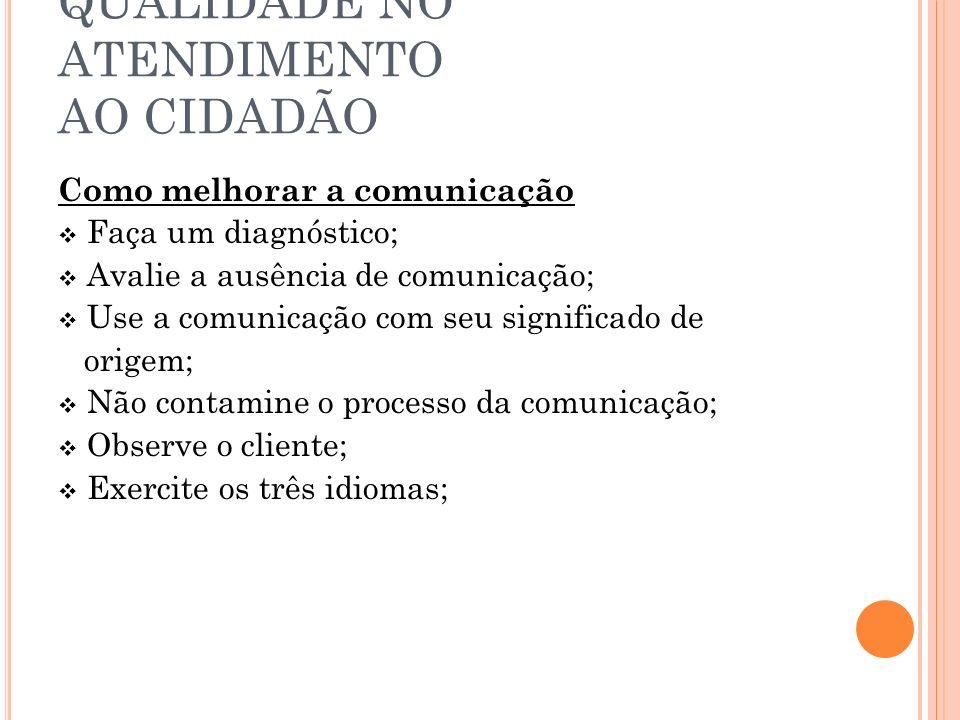 QUALIDADE NO ATENDIMENTO AO CIDADÃO Como melhorar a comunicação Faça um diagnóstico; Avalie a ausência de comunicação; Use a comunicação com seu significado de origem; Não contamine o processo da comunicação; Observe o cliente; Exercite os três idiomas;