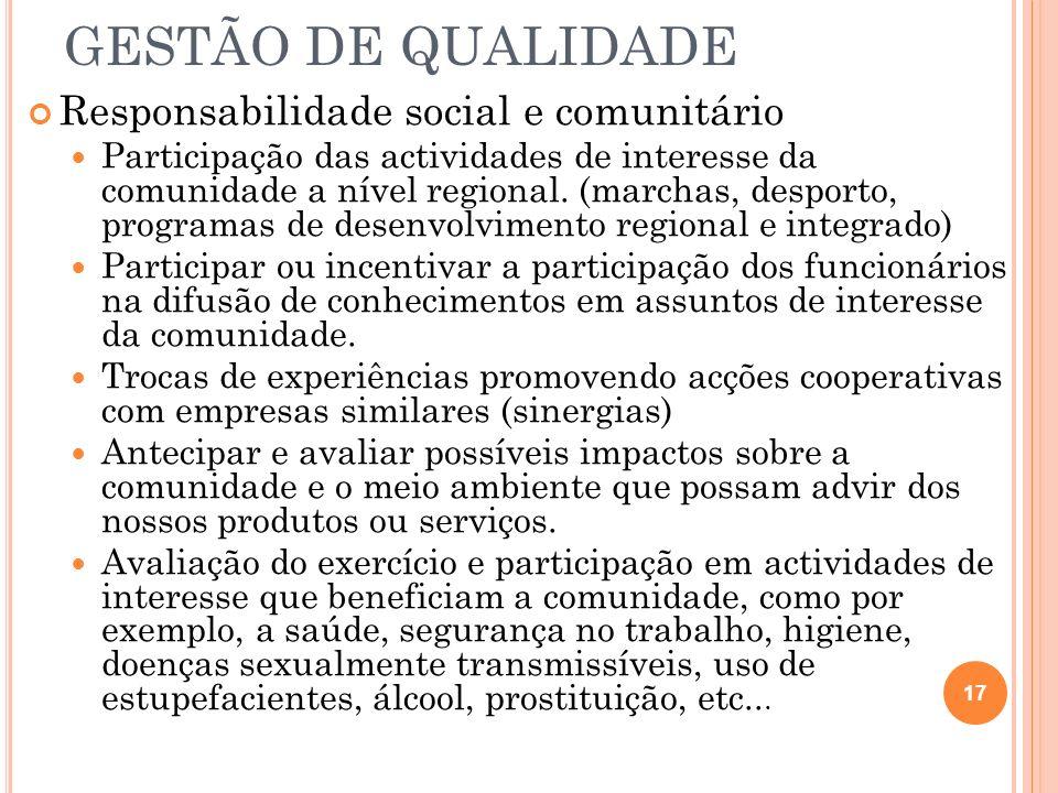 GESTÃO DE QUALIDADE Responsabilidade social e comunitário Participação das actividades de interesse da comunidade a nível regional. (marchas, desporto