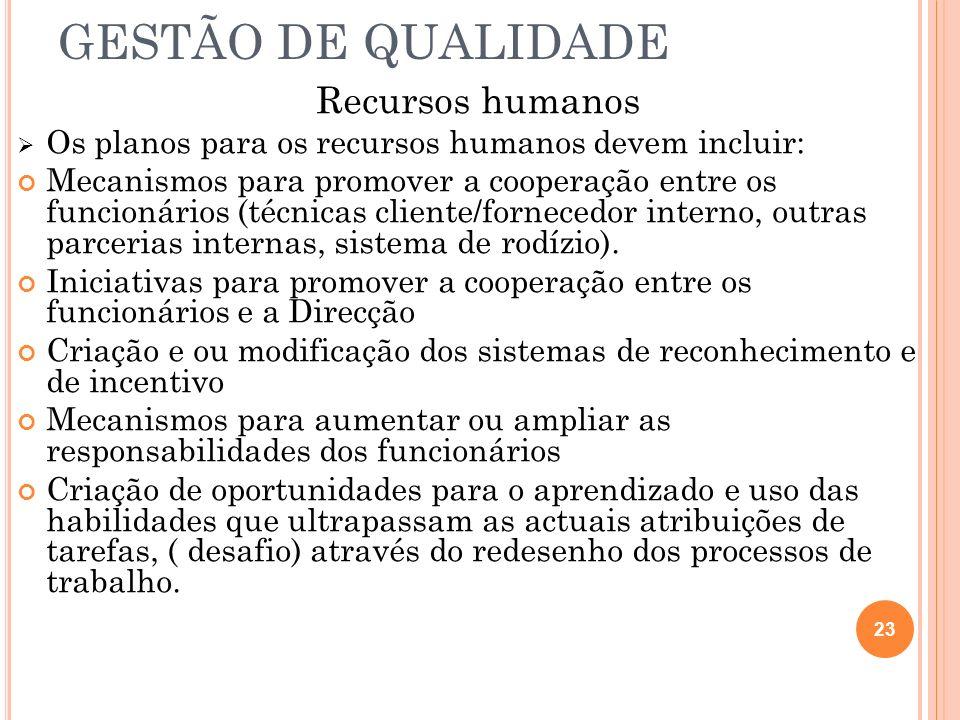GESTÃO DE QUALIDADE Recursos humanos Os planos para os recursos humanos devem incluir: Mecanismos para promover a cooperação entre os funcionários (té