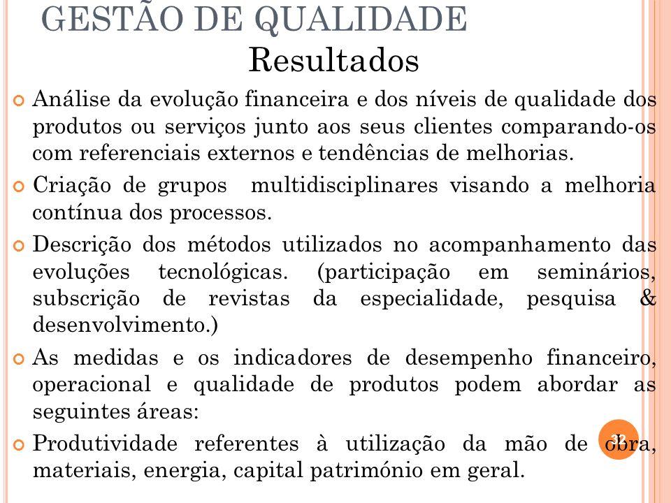 GESTÃO DE QUALIDADE Resultados Análise da evolução financeira e dos níveis de qualidade dos produtos ou serviços junto aos seus clientes comparando-os