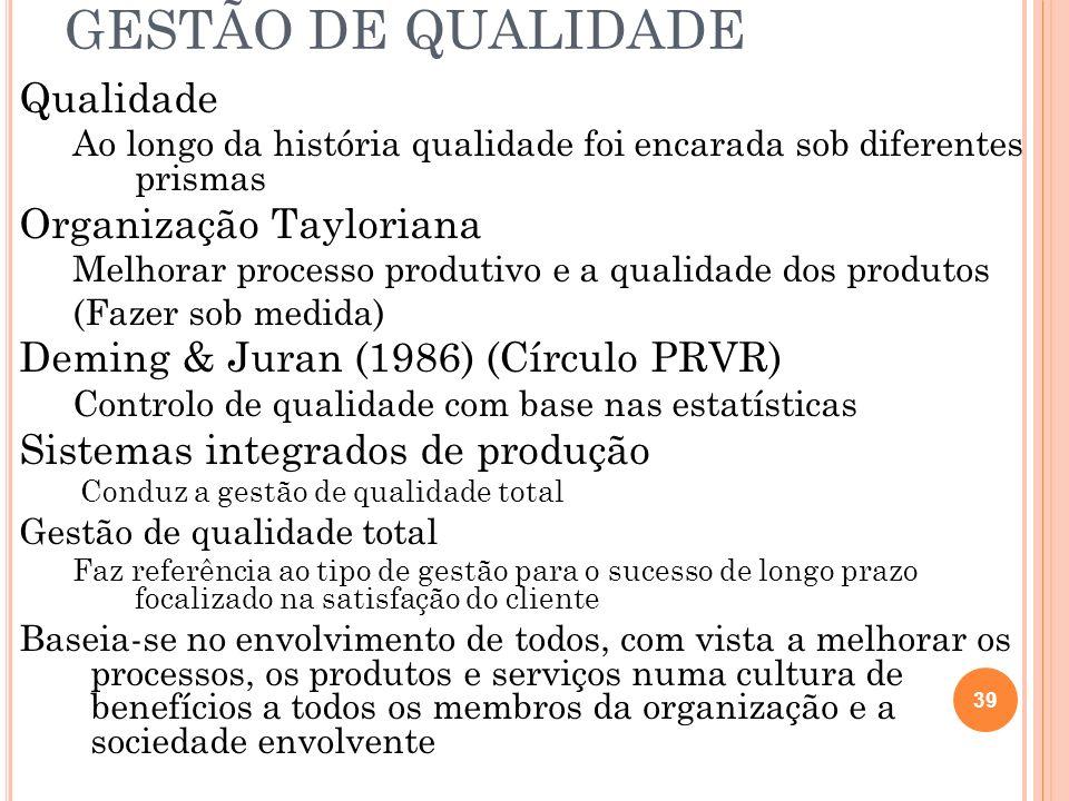 GESTÃO DE QUALIDADE Qualidade Ao longo da história qualidade foi encarada sob diferentes prismas Organização Tayloriana Melhorar processo produtivo e