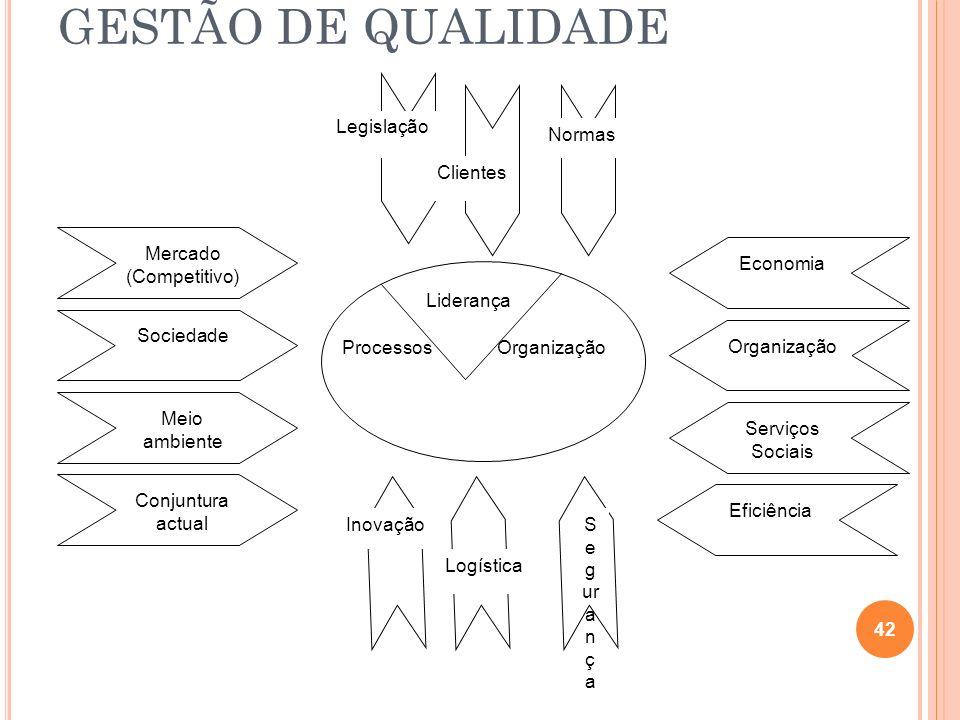 GESTÃO DE QUALIDADE 42 Sociedade Conjuntura actual Mercado (Competitivo) Meio ambiente Eficiência Serviços Sociais Organização Economia Legislação Cli
