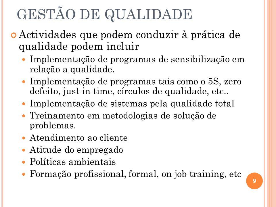 GESTÃO DE QUALIDADE Actividades que podem conduzir à prática de qualidade podem incluir Implementação de programas de sensibilização em relação a qual