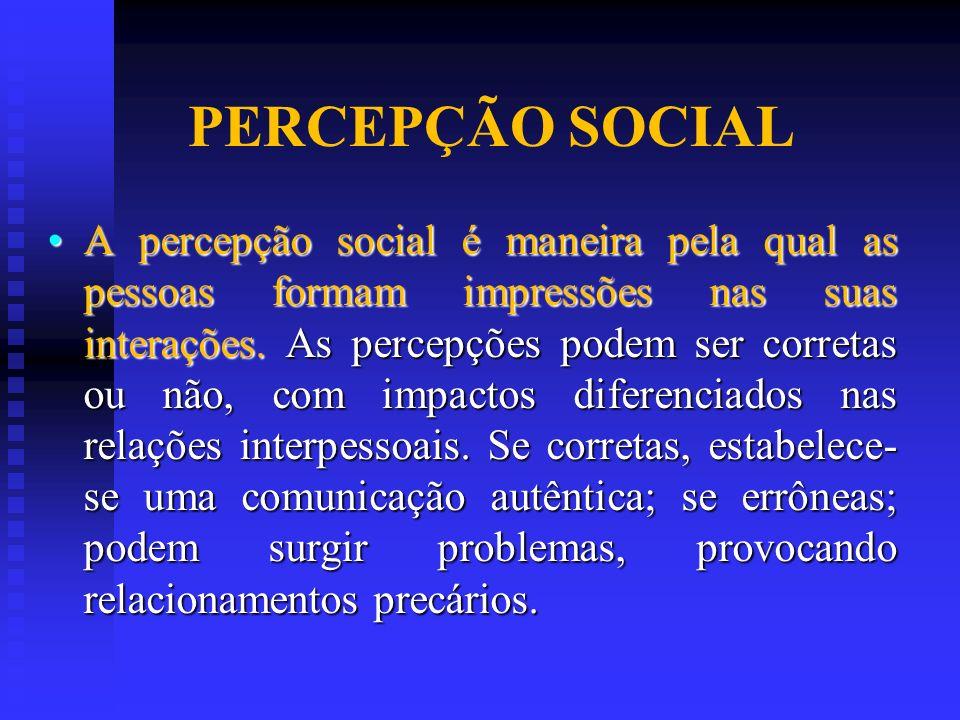 PERCEPÇÃO SOCIAL A percepção social é maneira pela qual as pessoas formam impressões nas suas interações. As percepções podem ser corretas ou não, com