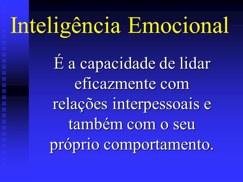 É a capacidade de lidar eficazmente com relações interpessoais e também com o seu próprio comportamento. Inteligência Emocional