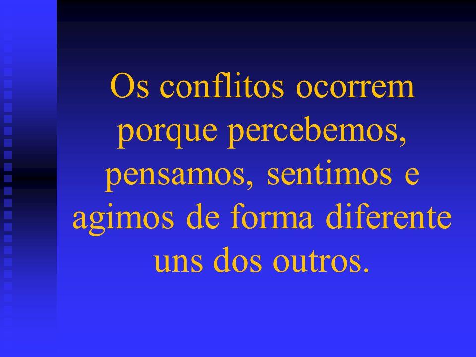 Os conflitos ocorrem porque percebemos, pensamos, sentimos e agimos de forma diferente uns dos outros.