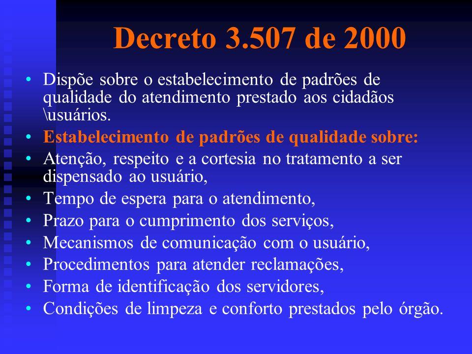 Decreto 3.507 de 2000 Dispõe sobre o estabelecimento de padrões de qualidade do atendimento prestado aos cidadãos \usuários. Estabelecimento de padrõe