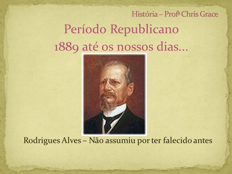 Período Republicano 1889 até os nossos dias... Rodrigues Alves – Não assumiu por ter falecido antes