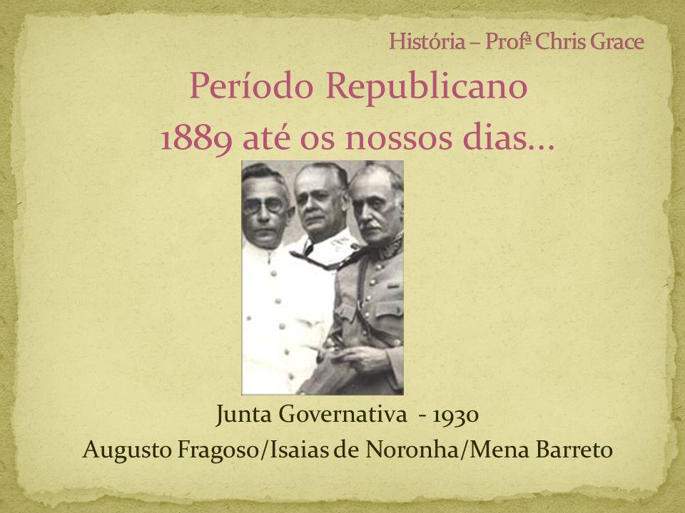 Período Republicano 1889 até os nossos dias... Junta Governativa - 1930 Augusto Fragoso/Isaias de Noronha/Mena Barreto