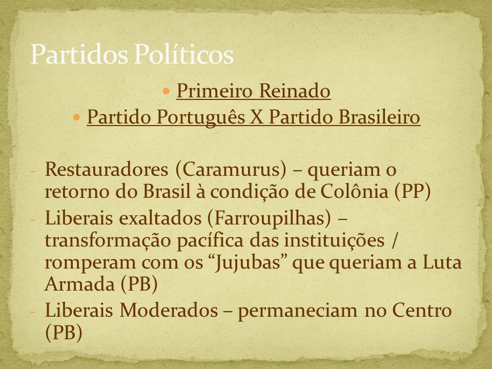 Primeiro Reinado Partido Português X Partido Brasileiro - Restauradores (Caramurus) – queriam o retorno do Brasil à condição de Colônia (PP) - Liberai