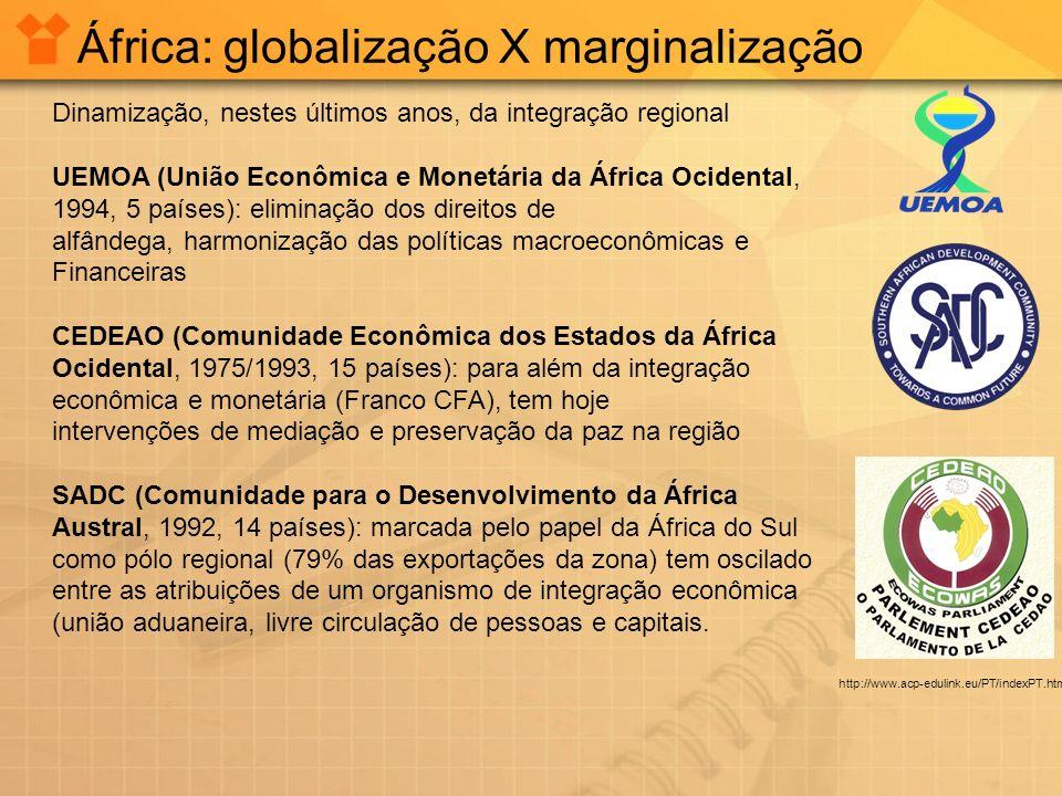 África: globalização X marginalização Dinamização, nestes últimos anos, da integração regional UEMOA (União Econômica e Monetária da África Ocidental,