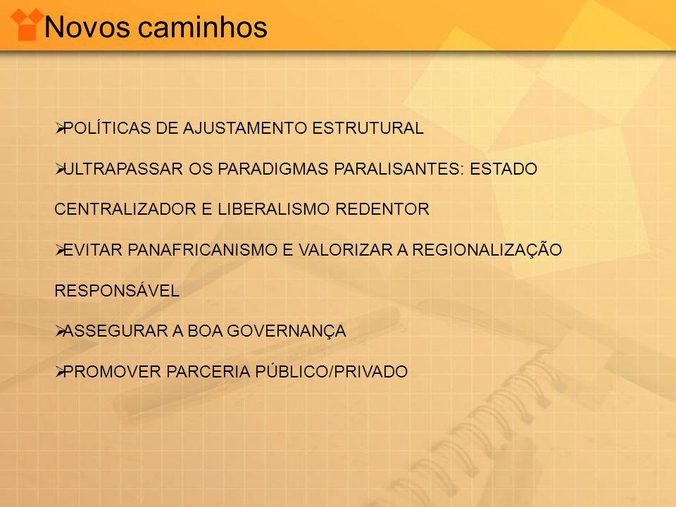 Novos caminhos POLÍTICAS DE AJUSTAMENTO ESTRUTURAL ULTRAPASSAR OS PARADIGMAS PARALISANTES: ESTADO CENTRALIZADOR E LIBERALISMO REDENTOR EVITAR PANAFRIC